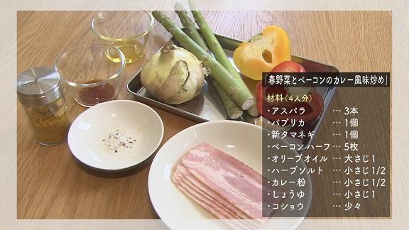 春野菜とベーコンのカレー風味炒め材料の写真