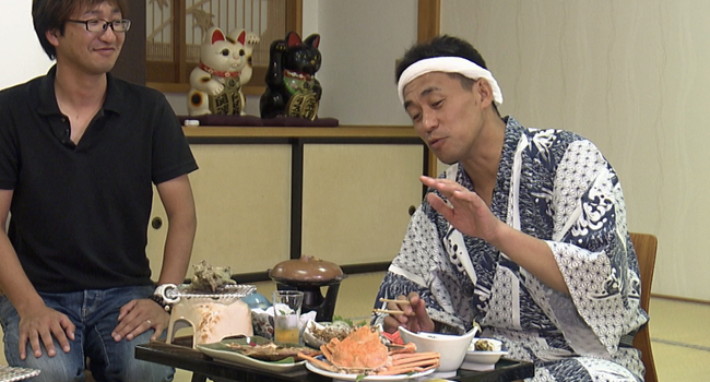 石田さん、新鮮な海の恵みに舌鼓。